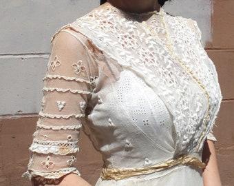 10043716c109 Antique Edwardian Lawn Dress // 1900s 1910s Titanic Era Gauzy Cream Mesh  Garden Party Gown // Lace Summer Wedding Tea Afternoon Dress