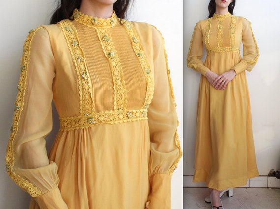 Vintage 1960's Empire Waist Dress // 60s Yellow Ch