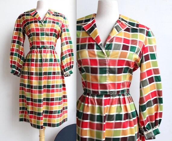 Vintage 1960's Rainbow Tartan Plaid Dress // 50s 6