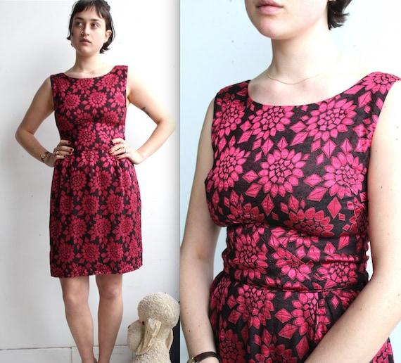 Vintage 1960's Jacquard Wiggle Dress // 50s 60s Ra