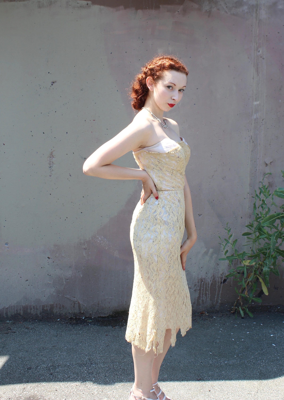49d81b360f98 Vintage 1950's Strapless Wiggle Dress // 50s Antique Cream   Etsy