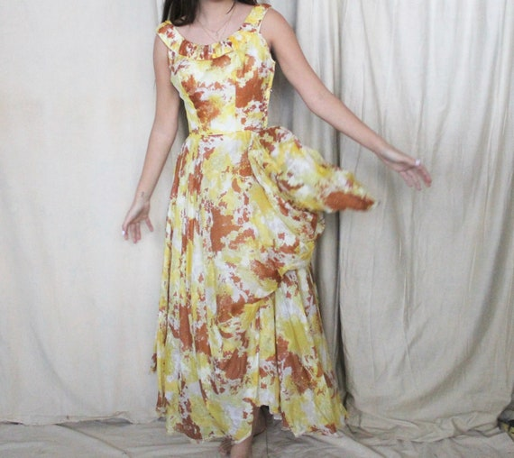 Vintage 1950's Party Dress | 50s Yellow and Brown… - image 4