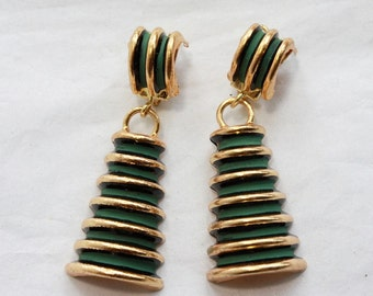 1 Pair of Vintage 1960s Green Tower Clip On Earrings // New Old Stock