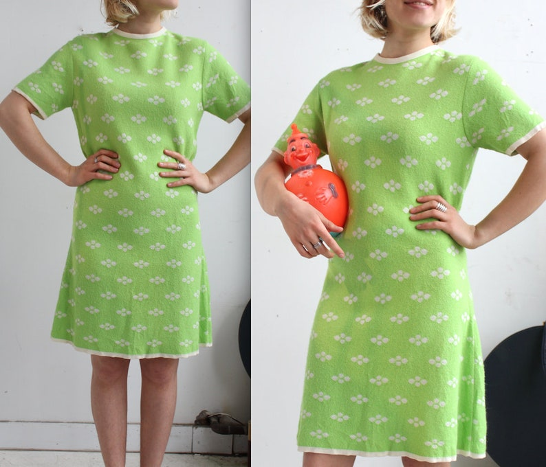 35ffaead0aa Vintage 1960's Mod Lime Green and White Dress // 60s   Etsy