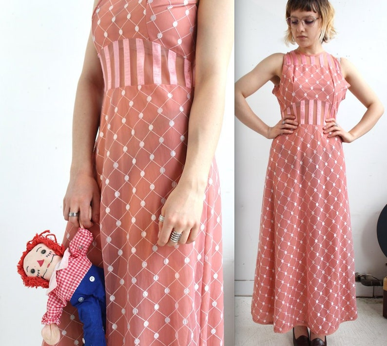 0a934b40b4 Vintage 1960s Sheer Cutout Dress    60s 70s Rosy Pink Maxi
