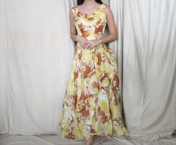 Vintage 1950's Party Dress | 50s Yellow and Brown… - image 2