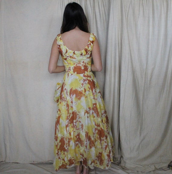 Vintage 1950's Party Dress | 50s Yellow and Brown… - image 6