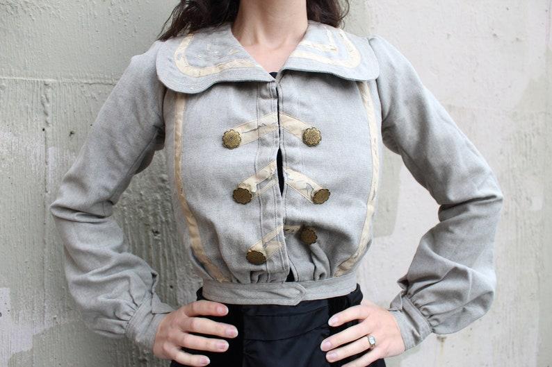 6662a755e91b82 Antique Edwardian Bodice Jacket    1900s Dove Grey Tweed Wool