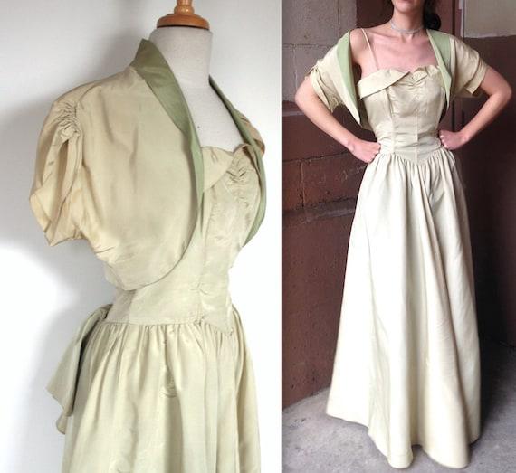 Vintage 1940's Gown | 40s Pistachio Green Taffeta
