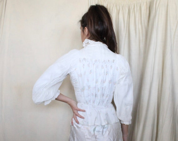 Antique Victorian Bodice Jacket // Late 1800s Whi… - image 3
