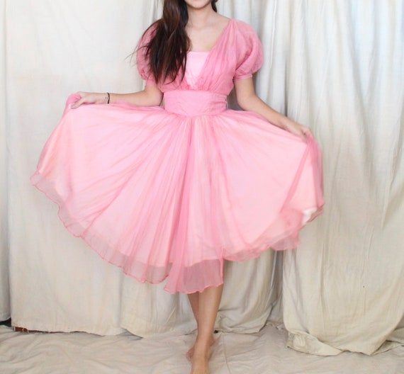 Vintage 1950's Dress // 50s Pink Chiffon Cocktail