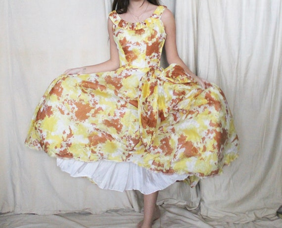 Vintage 1950's Party Dress | 50s Yellow and Brown… - image 1