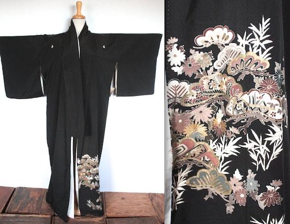 ancienne robe kimono des ann es 1900 1920 s noir robe etsy. Black Bedroom Furniture Sets. Home Design Ideas