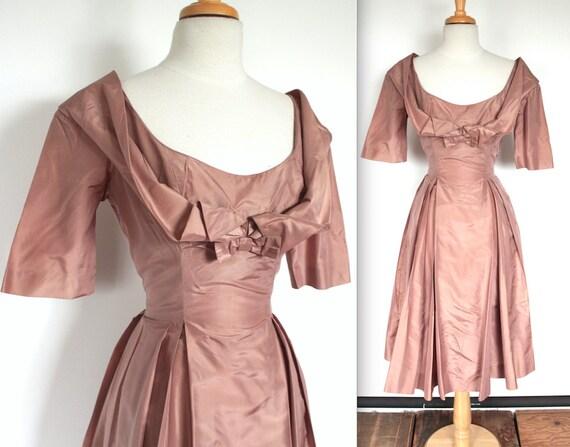 Vintage 1950's Dress // 40s 50s Rosy Brown Silk Ta