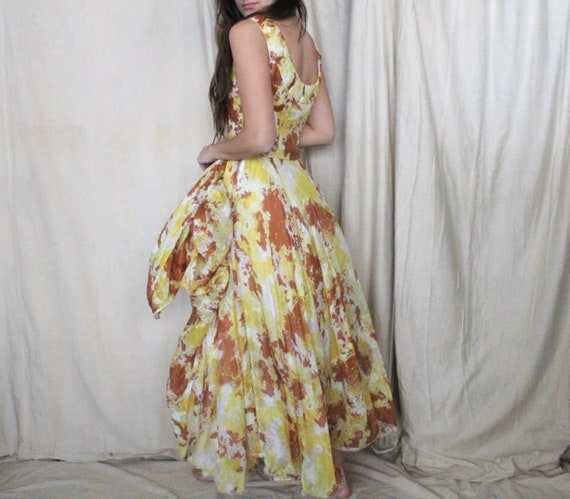 Vintage 1950's Party Dress | 50s Yellow and Brown… - image 5