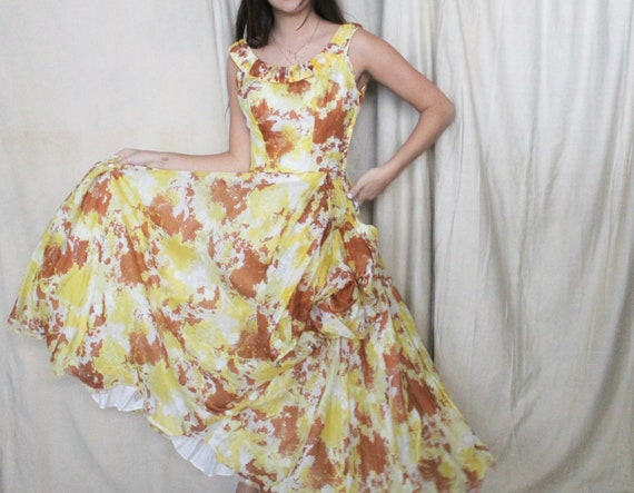 Vintage 1950's Party Dress | 50s Yellow and Brown… - image 7