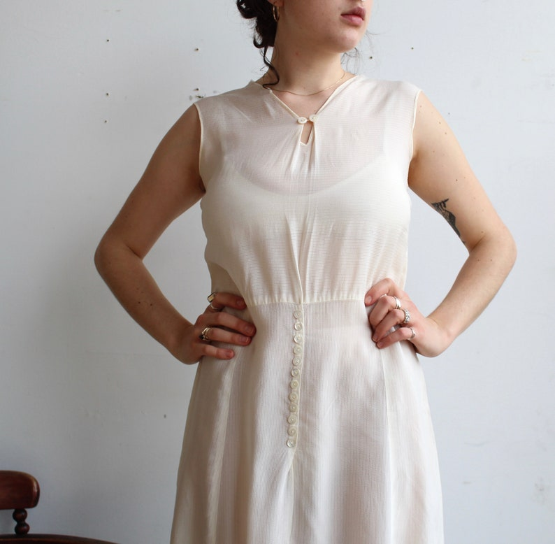 3309aafc46a Vintage 1920s Dress    20s 30s Semi-Sheer White Cotton Voille
