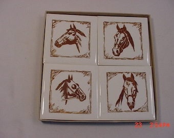 4 Vintage Decorative Ceramic Tiles With Horses In Original Box  18 - 1084