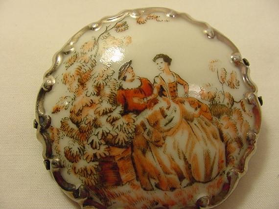 Ceramic Vintage Victorian Scene Brooch
