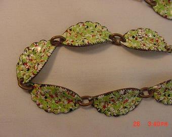 Vintage Enamel Over Copper Adjustable Necklace  18 - 421