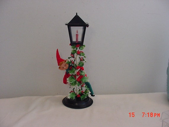 vintage plastic elf and lamp post christmas decoration 18