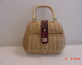 Vintage Babette Wicker Purse Or Handbag  18 - 1222