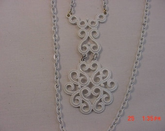 Vintage White Enameled Two Strand Necklace  18 - 406
