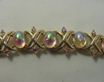 Vintage Coro Pink Aurora Borealis Cabochons & Rhinestones Bracelet  19 - 196