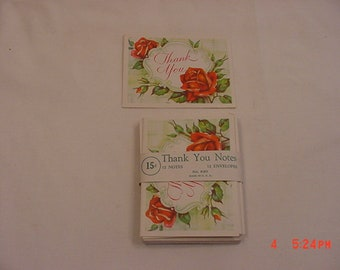 7 Vintage Red Roses Thank You Notes & Envelopes  18 - 823