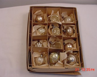 12 Vintage Silver Mercury Glass Christmas Ornaments  18 - 1151
