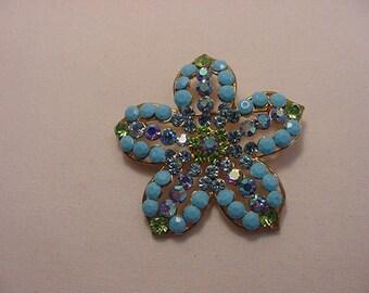 Vintage Rhinestone Flower Blossom Brooch  15 - 41