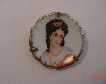 Vintage Porcelaine Limoges France Portrait Brooch  18 - 624