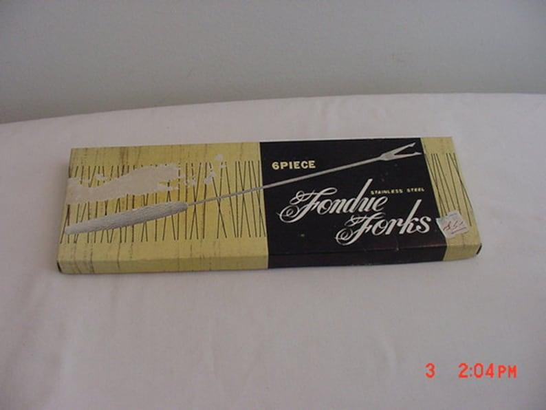 Vintage  Set Of Six Stainless Steel Fondue Forks   16-388