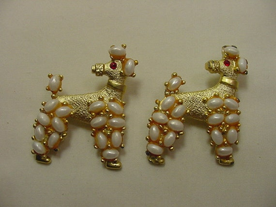 Vintage Mid Century Enamel Dog with Bone Pair of Scatter Pins Adorable Brown Puppy Yellow Bone