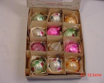 12 Vintage Mercury Glass Christmas Ornaments   18 - 1150