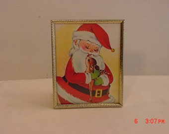 Vintage Framed Children's Picture Book Santa Claus & Baby Reindeer Picture  18 - 973