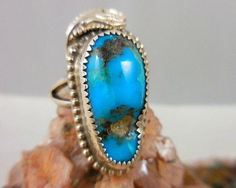 Native American Turquoise Snake Sterling Silver Ring
