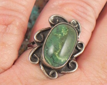 Green Jasper Sterling Silver Ring