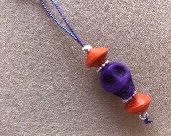 Orange and Purple Knitting & Crochet Stitch Markers, Project Markers, Zipper Pulls