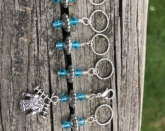 Ocean Blue crystal Knitting and Crochet Stitch Markers