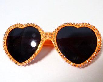 69618f4d19 Orange Heart Shaped Sunglasses Covered With Orange Aurora Borealis  Rhinestones