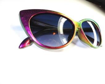 Farbe Verschiebung rot Magenta Kupfer Gold Grün Cat Eye Retro-Sonnenbrille