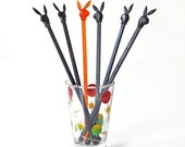 Vintage Playboy Swizzle Sticks Black and Orange