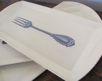 Vintage Serving Trays, Cream Painted Trays Decoupaged with Fork, Spoon and Knife Motif