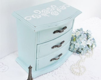 Musical Jewelry Box, Light Blue Painted Jewelry Box, White Floral Stencil, Small Vintage Jewelry Box, Danke Schoen