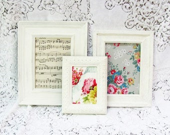 Picture Frame Set, Antique White Picture Frames, Shabby Chic Wedding or Nursery Frames