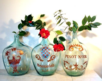 Extra Large Vintage Hand Painted Demi Jon Wine Bottles from France  Pinot Noir,  Medoc, Vacqueyras,  French Demi-Jon, French wine bottle