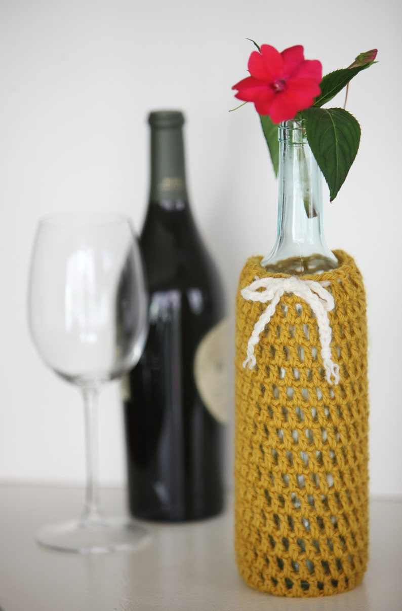 Wine Bottle Cozy in Honey Mustard image 0