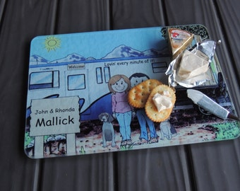 Personalized Cartoon Print Cutting Boards Fifth Wheel Trailer, 5th Wheel,  Pull along Camper, RV Camping Trailer