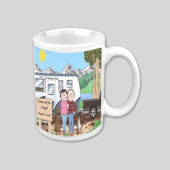 Funny Camping RV Coffee Cartoon Mugs RV there yet? 5th Wheel